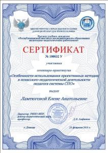 Сертификат № 180032 У, ВУЗ «РИПО ИПР», 28.02. 2018 г.(2017-2018 у.г.)